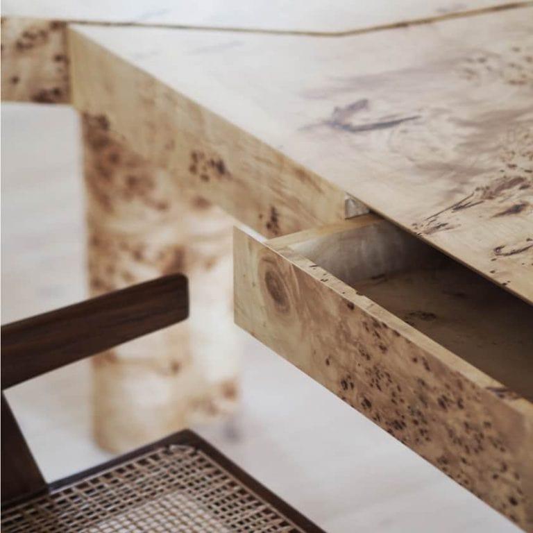 Bespoke designed elegant contemporary elmwood desk with a drawer detail