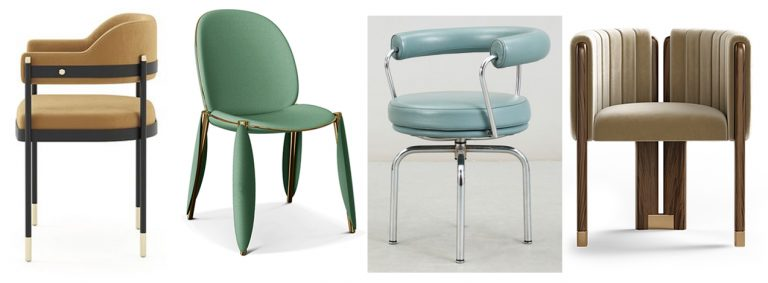Stylish variety of bold colourful and highly individual designs of chairs