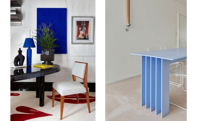 Industrial baby blue table next to luxury office interior with electric bold blues