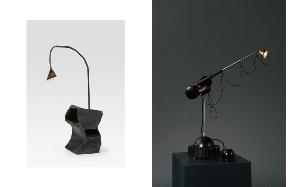 Quirky 80s black sculptural table lamps with retractable arm and remote control from Paris