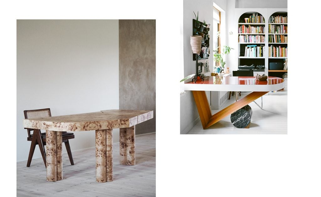 Quirky table with skewed corners top on rounded double legs and shiny large radius red top on wooden V shaped leg on marble cylinder
