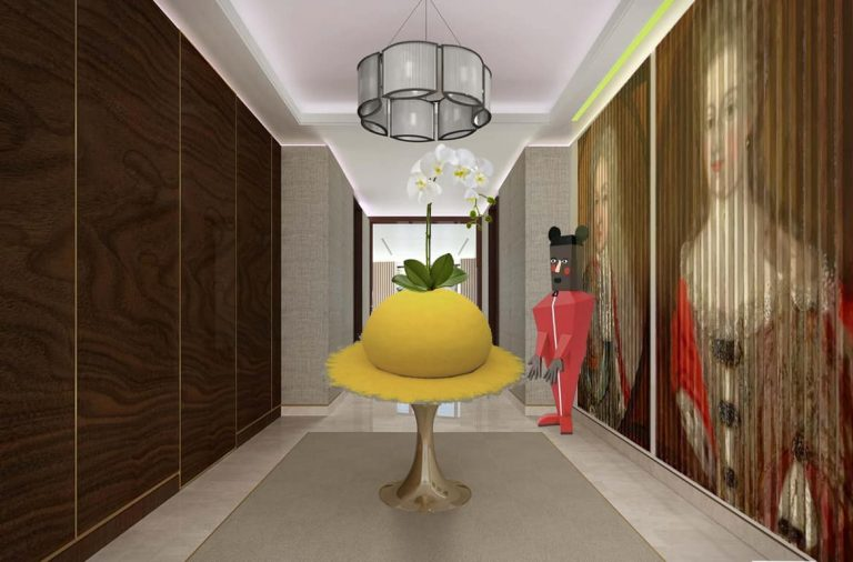 maximalist entrance lobby by misch_MISCH studio