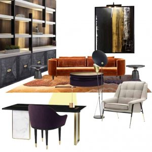 Home office design with moodboard